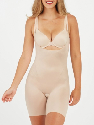 Thinstincts 2.0 Open Bust Midthigh Bodysuit