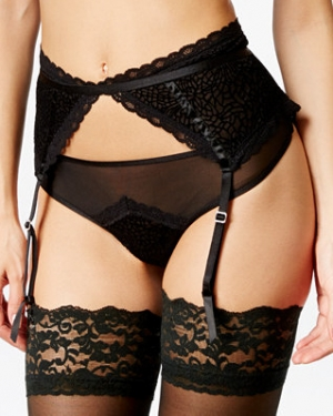 Exclusive Flocked Mesh Garter Belt